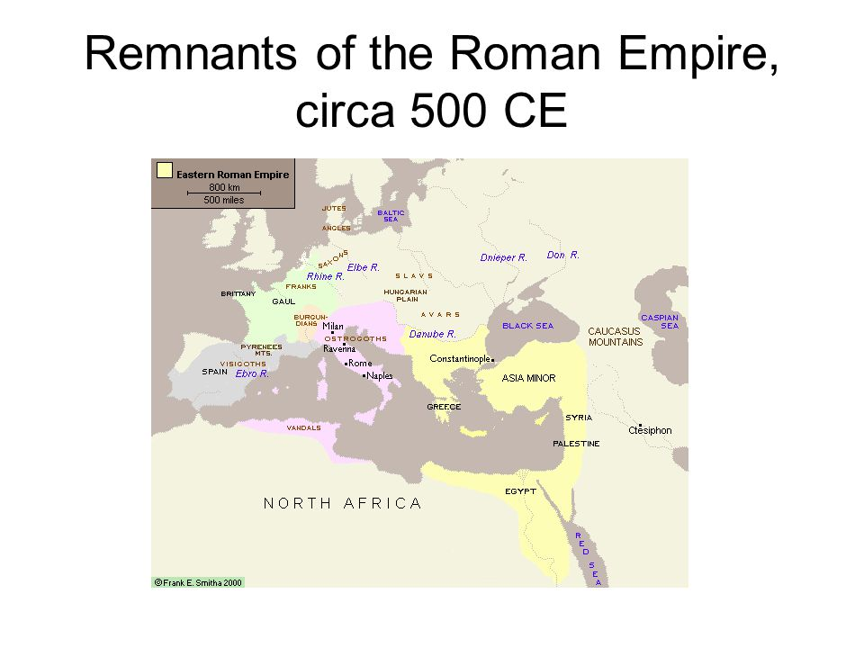 Remnants of the Roman Empire, circa 500 CE