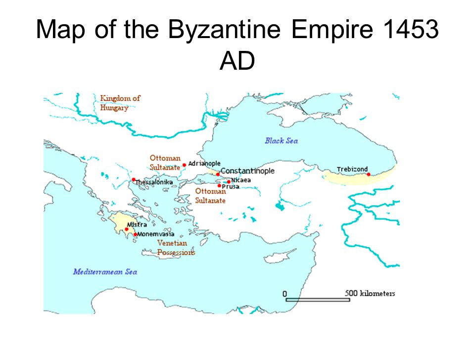 Map of the Byzantine Empire 1453 AD