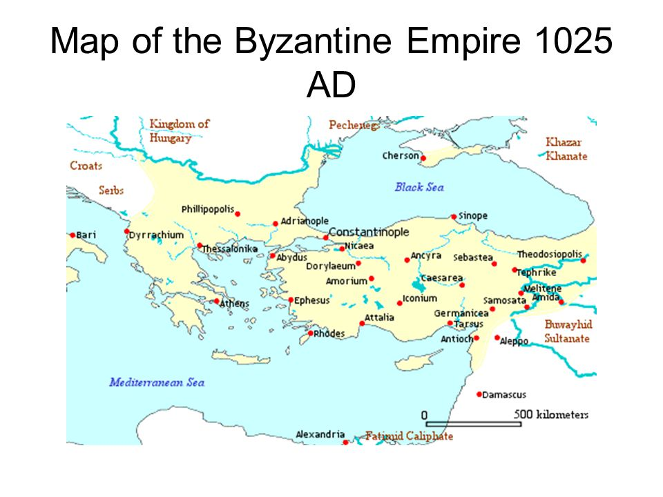 Map of the Byzantine Empire 1025 AD