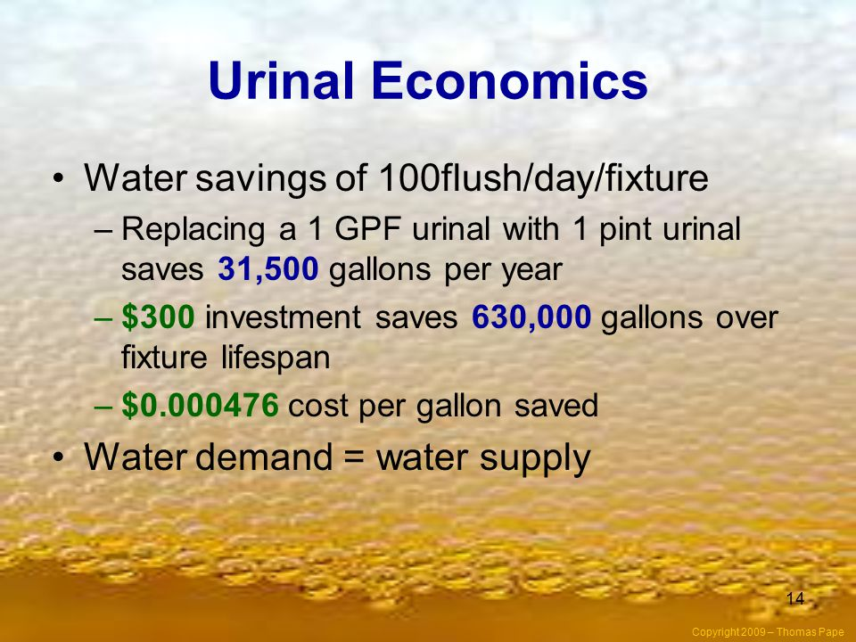 Urinal Economics Water savings of 100flush/day/fixture