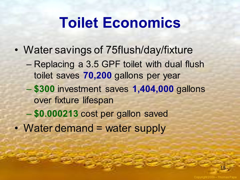 Toilet Economics Water savings of 75flush/day/fixture