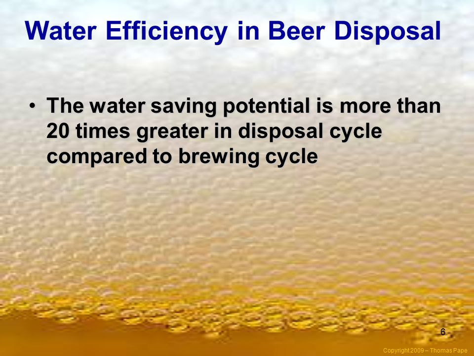 Water Efficiency in Beer Disposal