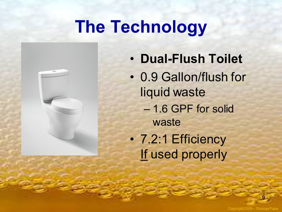 The Technology Dual-Flush Toilet 0.9 Gallon/flush for liquid waste