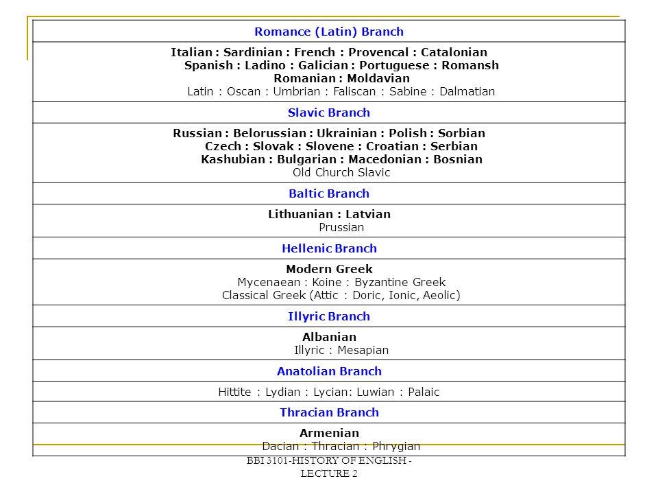 Romance (Latin) Branch
