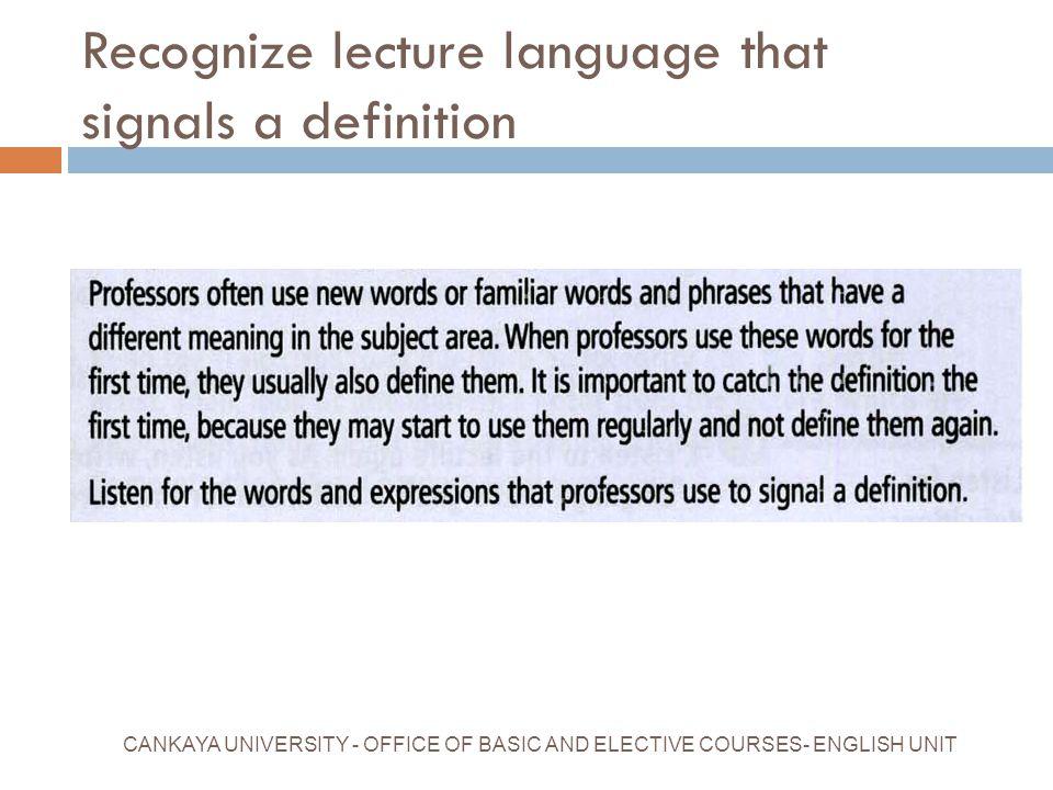 Recognize lecture language that signals a definition
