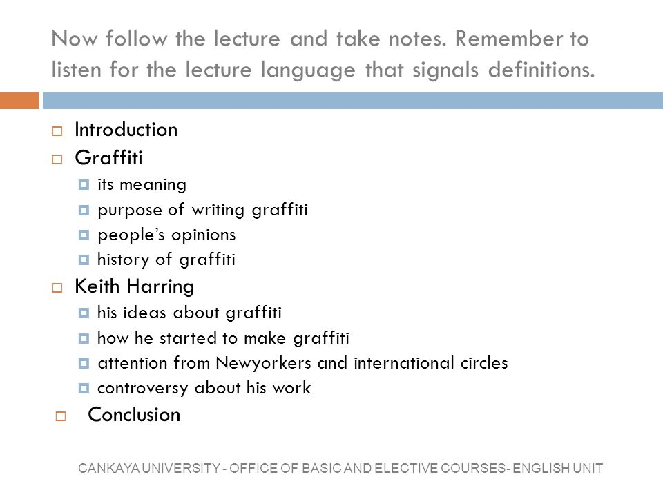 Now follow the lecture and take notes