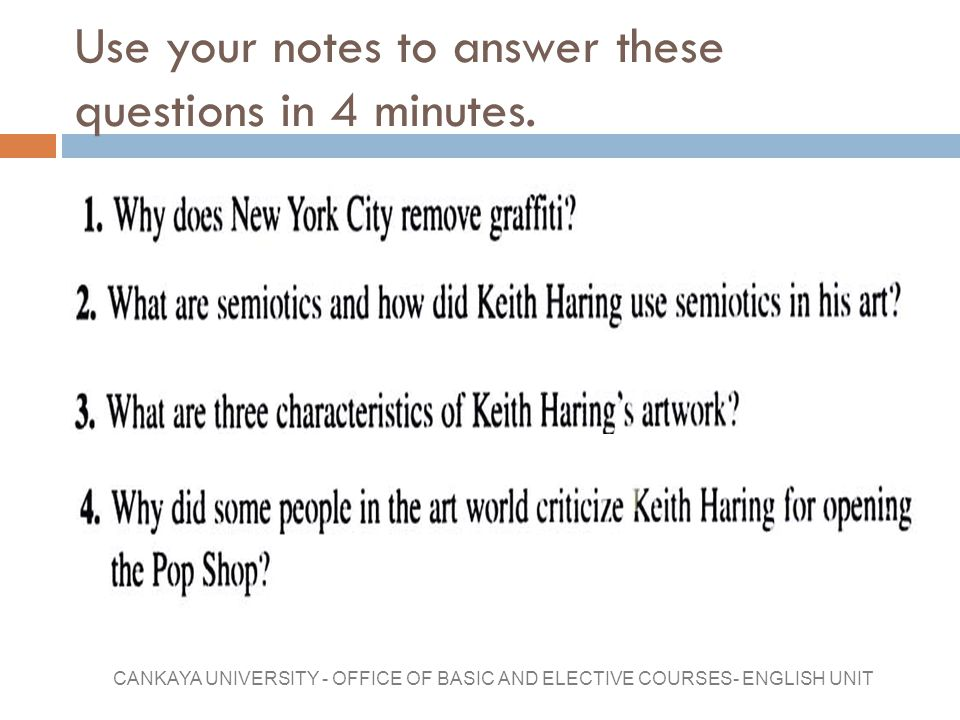 Use your notes to answer these questions in 4 minutes.