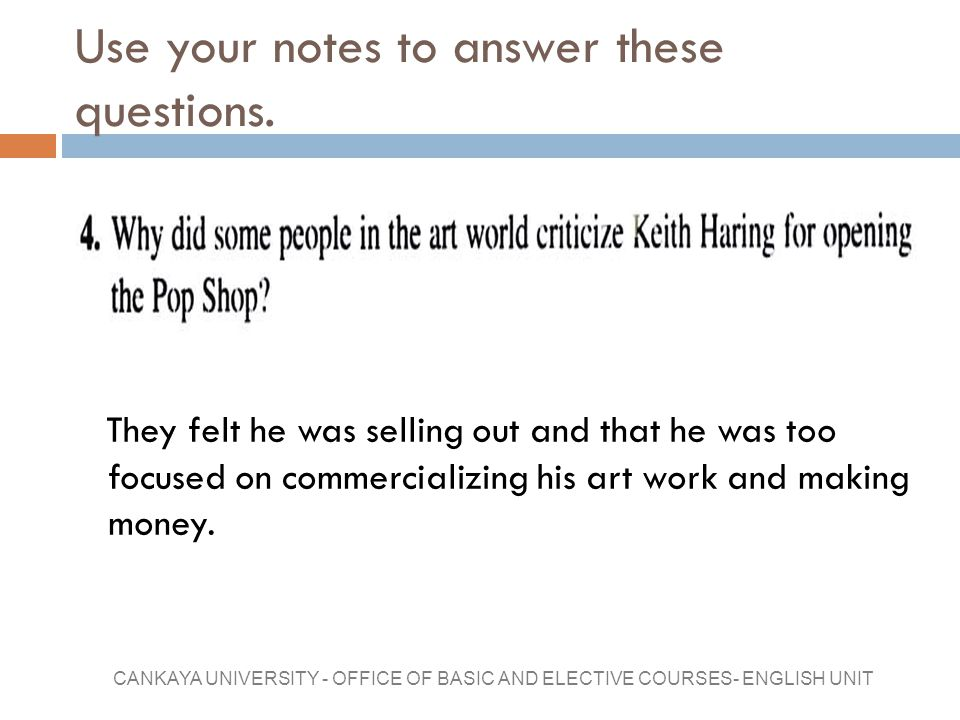 Use your notes to answer these questions.