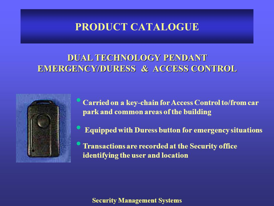 PRODUCT CATALOGUE DUAL TECHNOLOGY PENDANT