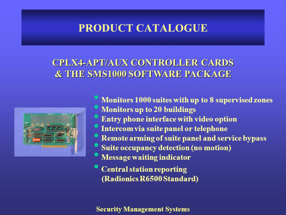 PRODUCT CATALOGUE CPLX4-APT/AUX CONTROLLER CARDS