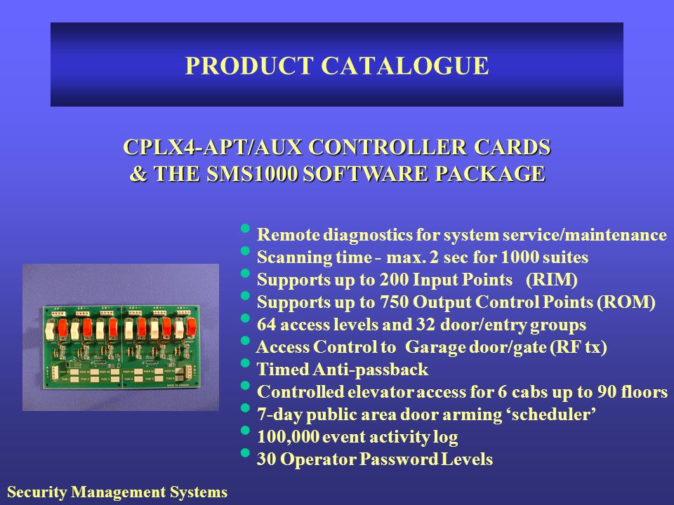 CPLX4-APT/AUX CONTROLLER CARDS & THE SMS1000 SOFTWARE PACKAGE