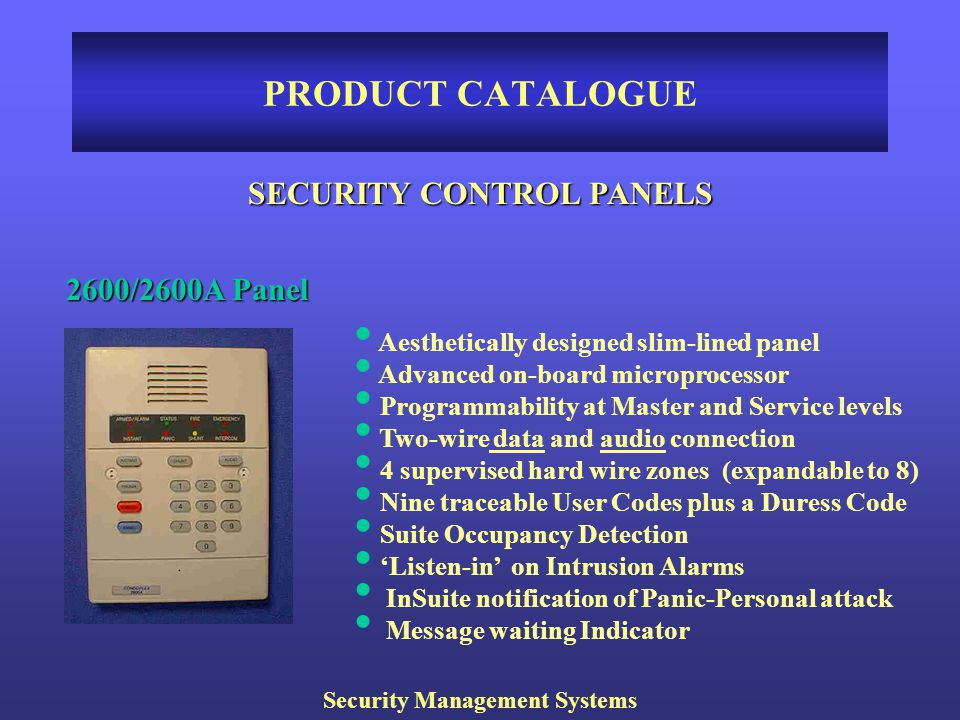 SECURITY CONTROL PANELS Security Management Systems