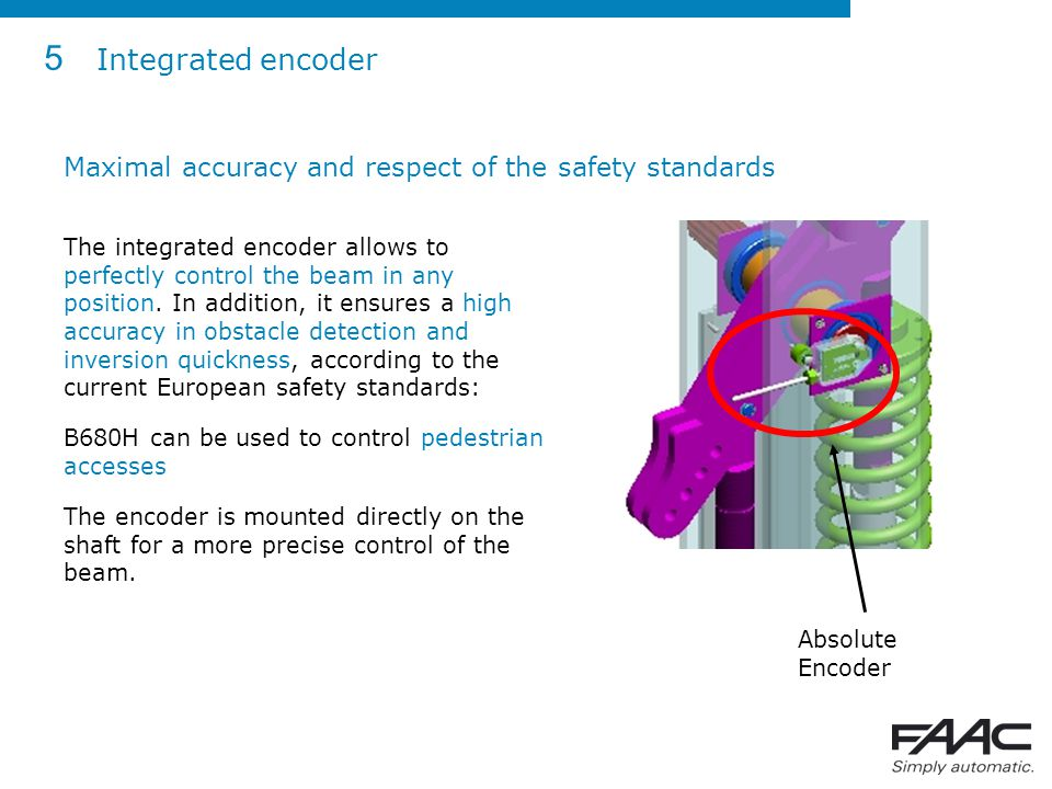 5 Integrated encoder Maximal accuracy and respect of the safety standards.