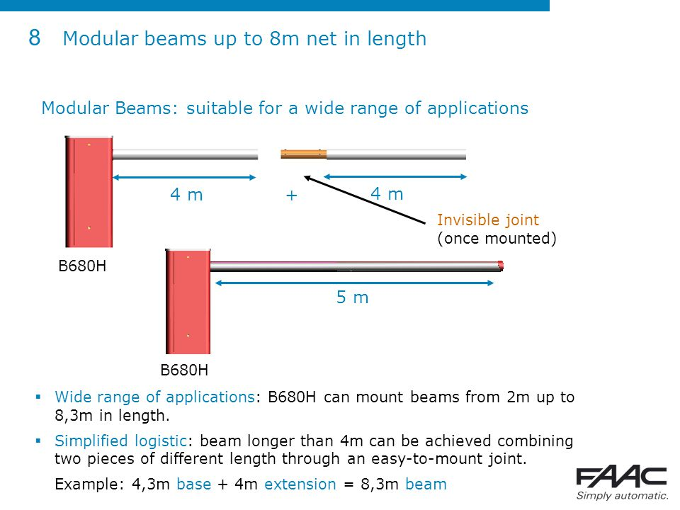 8 Modular beams up to 8m net in length