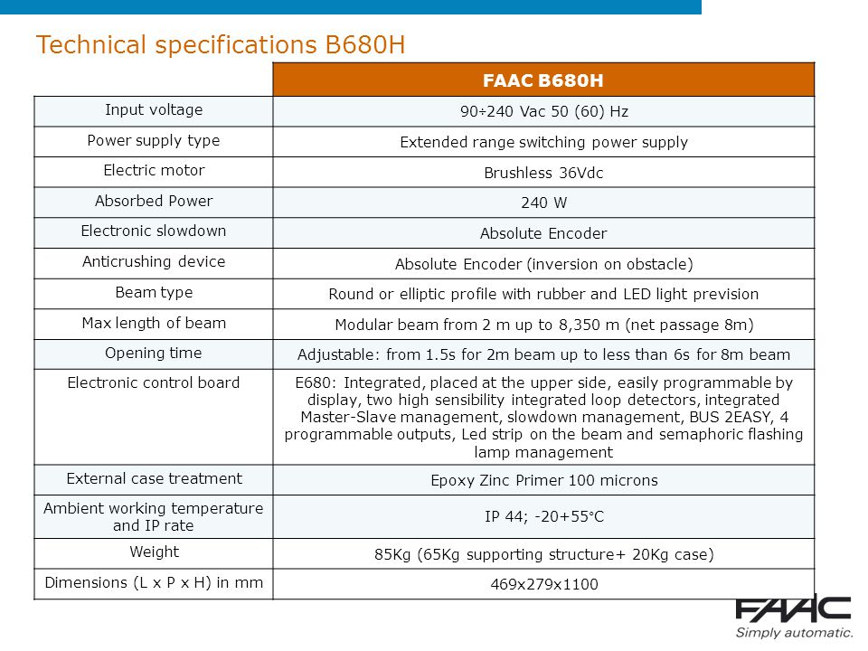 Technical specifications B680H