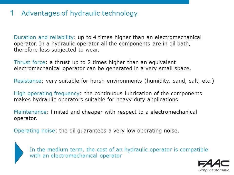 1 Advantages of hydraulic technology