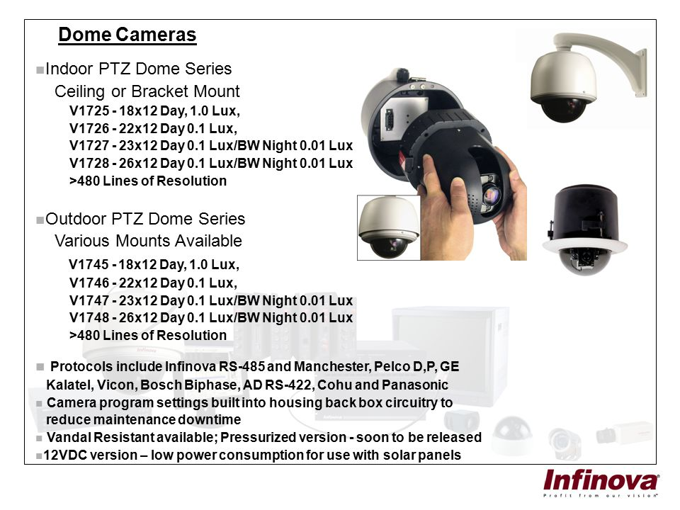 Dome Cameras Indoor PTZ Dome Series Ceiling or Bracket Mount