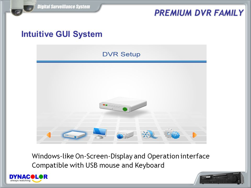 PREMIUM DVR FAMILY Intuitive GUI System