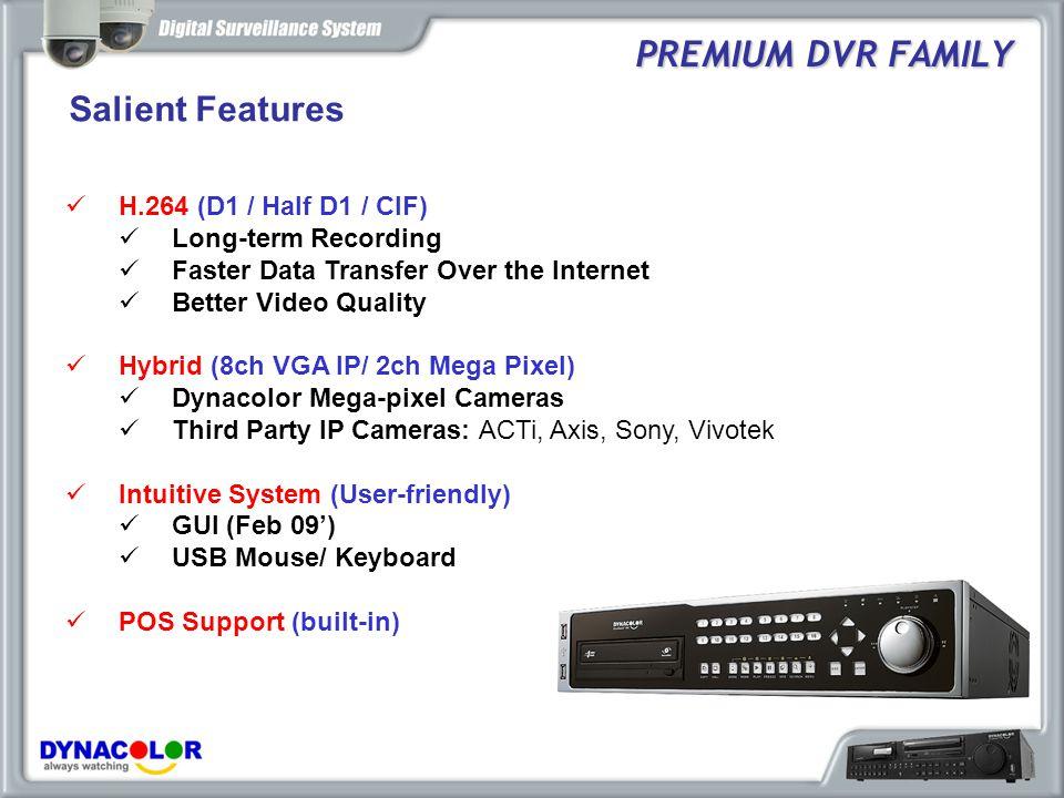 Salient Features PREMIUM DVR FAMILY H.264 (D1 / Half D1 / CIF)