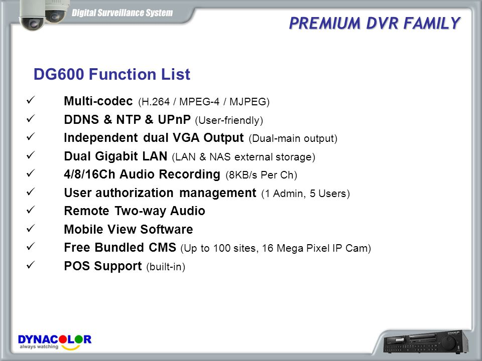 PREMIUM DVR FAMILY DG600 Function List