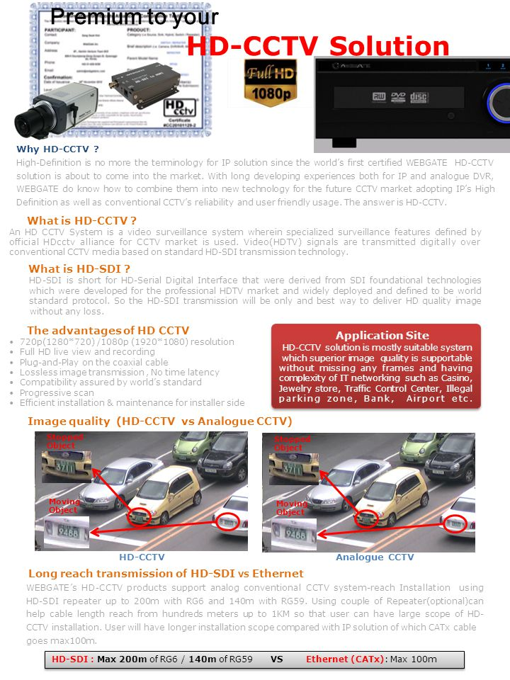 Application Site HD-CCTV solution is mostly suitable system