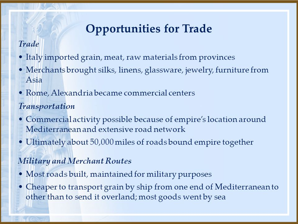 Opportunities for Trade