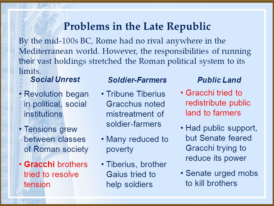 Problems in the Late Republic