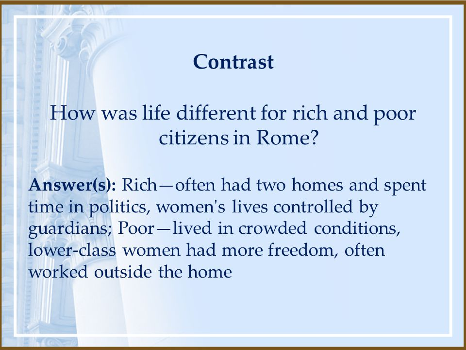 How was life different for rich and poor citizens in Rome