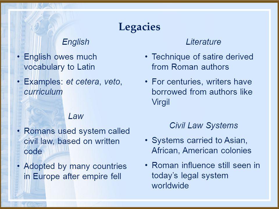 Legacies English English owes much vocabulary to Latin