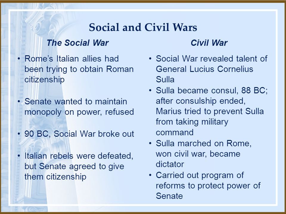Social and Civil Wars Rome's Italian allies had been trying to obtain Roman citizenship. Senate wanted to maintain monopoly on power, refused.