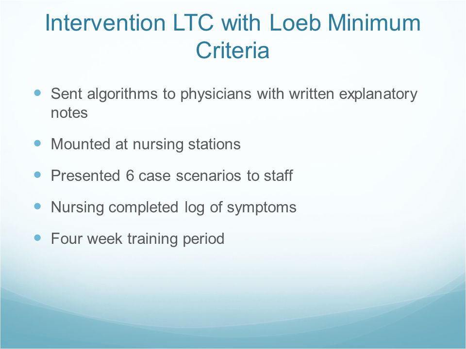 Intervention LTC with Loeb Minimum Criteria