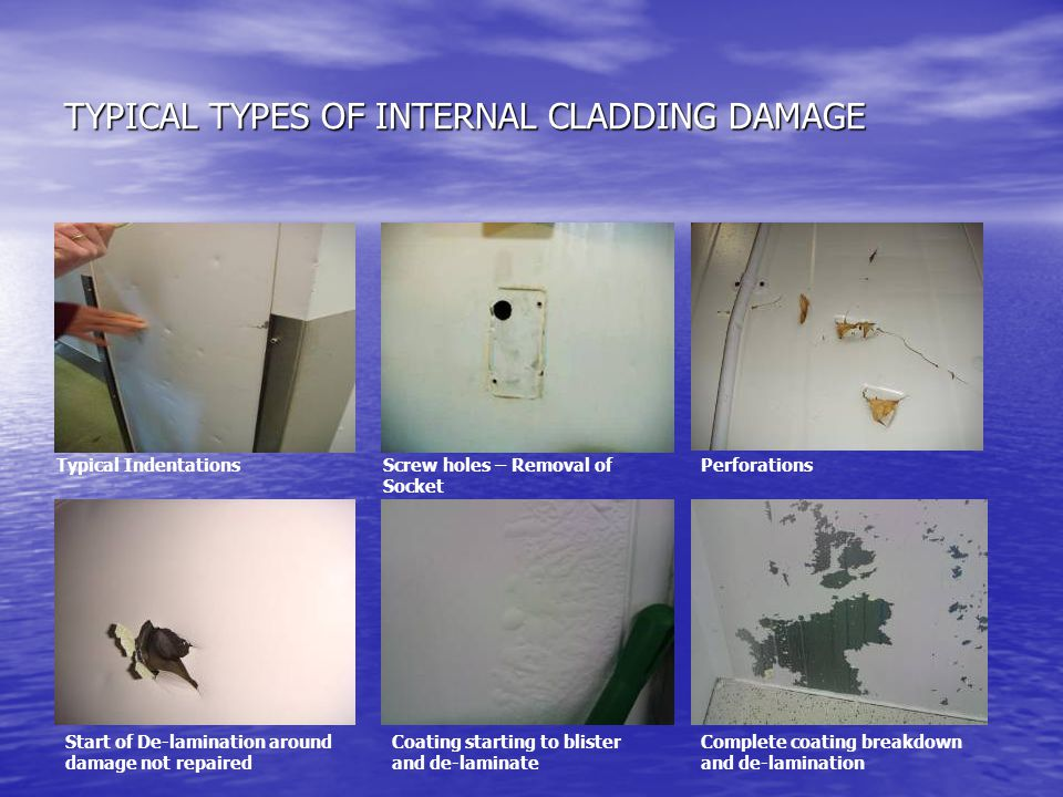 TYPICAL TYPES OF INTERNAL CLADDING DAMAGE