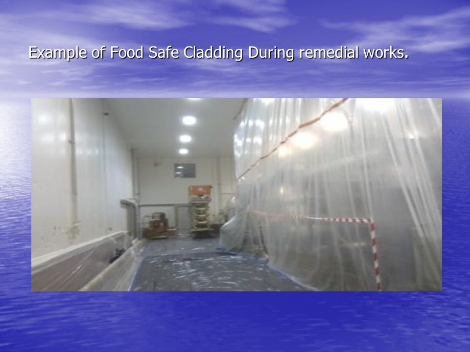 Example of Food Safe Cladding During remedial works.