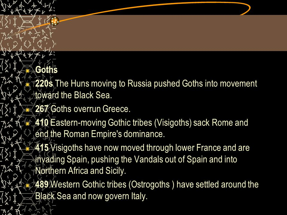 Goths 220s The Huns moving to Russia pushed Goths into movement toward the Black Sea. 267 Goths overrun Greece.