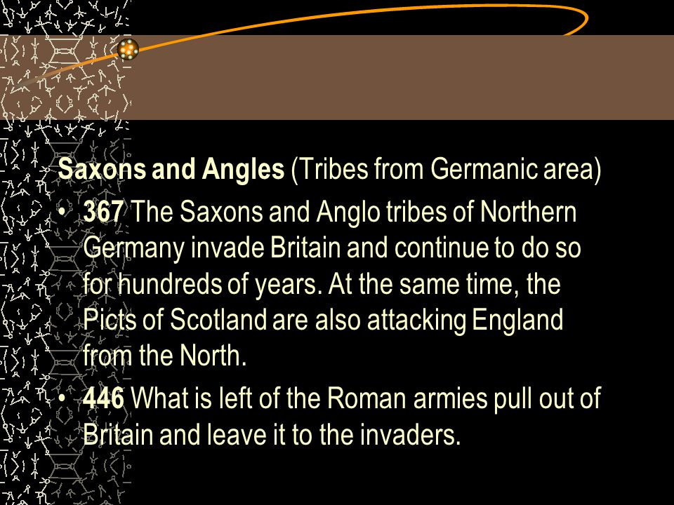 Saxons and Angles (Tribes from Germanic area)