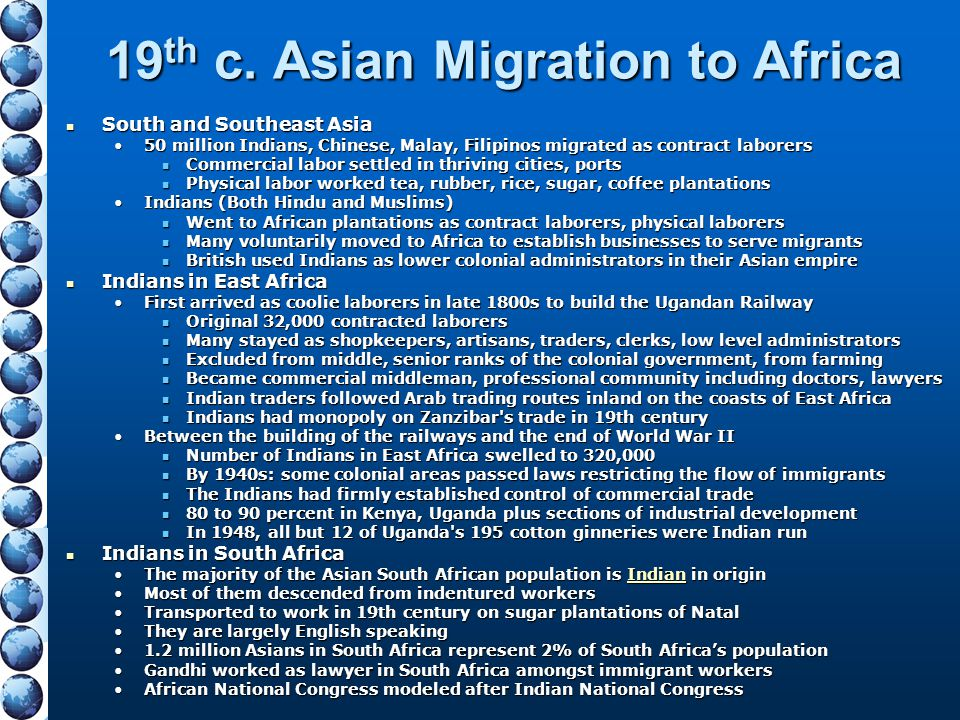 19th c. Asian Migration to Africa