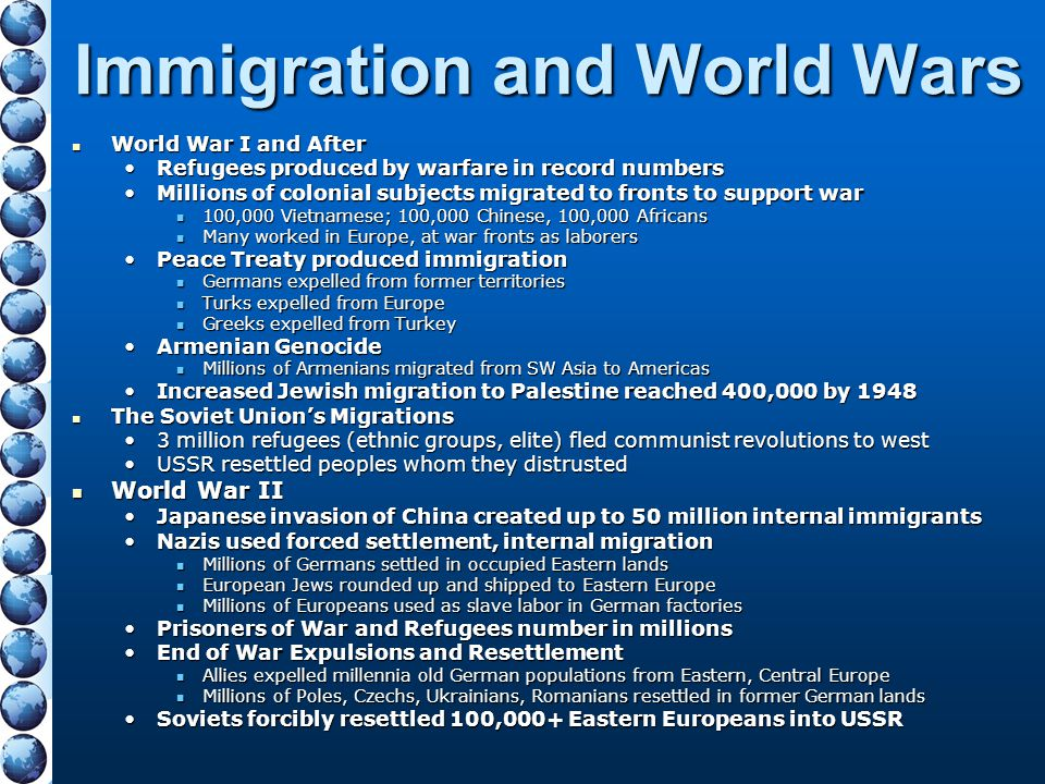 Immigration and World Wars