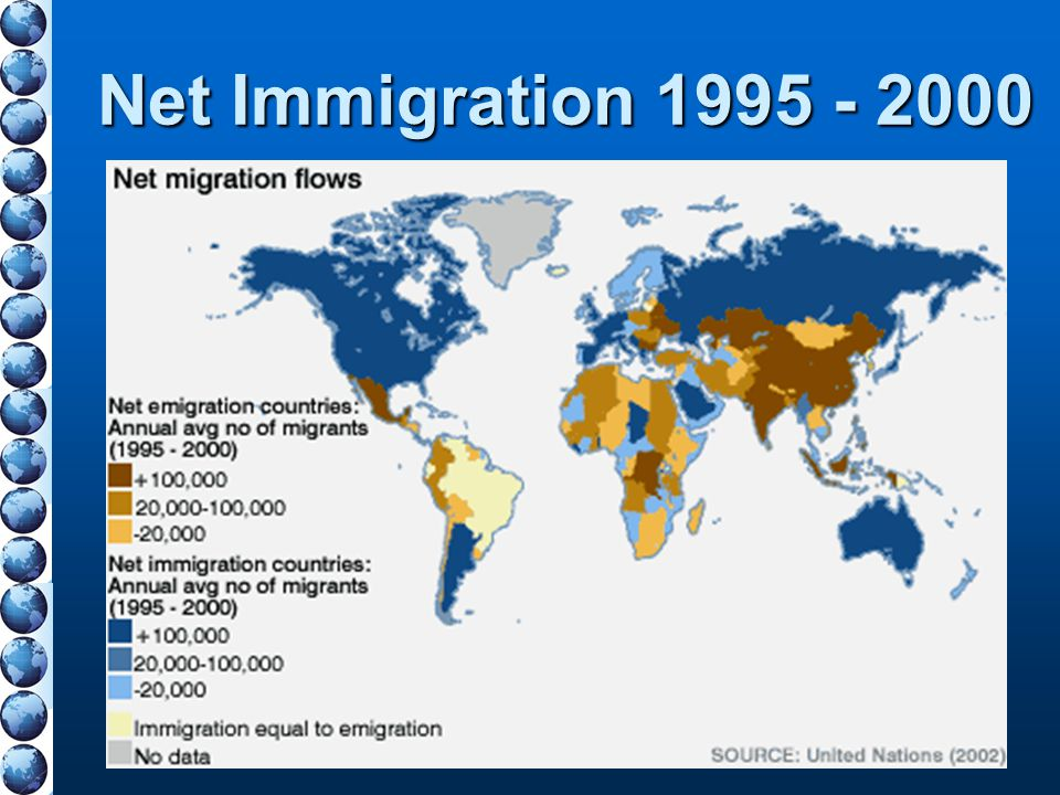 Net Immigration 1995 - 2000