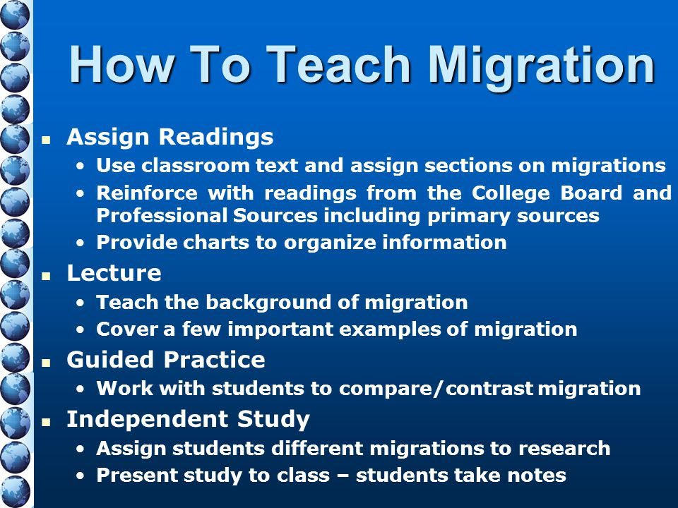 How To Teach Migration Assign Readings Lecture Guided Practice