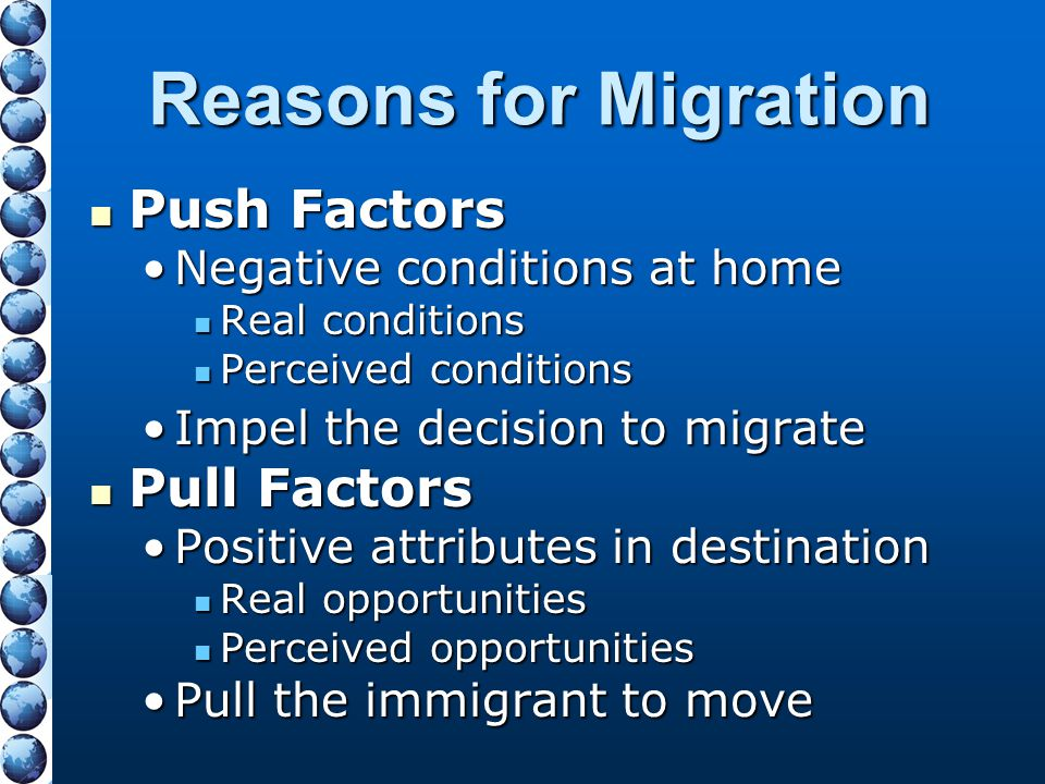 Reasons for Migration Push Factors Pull Factors
