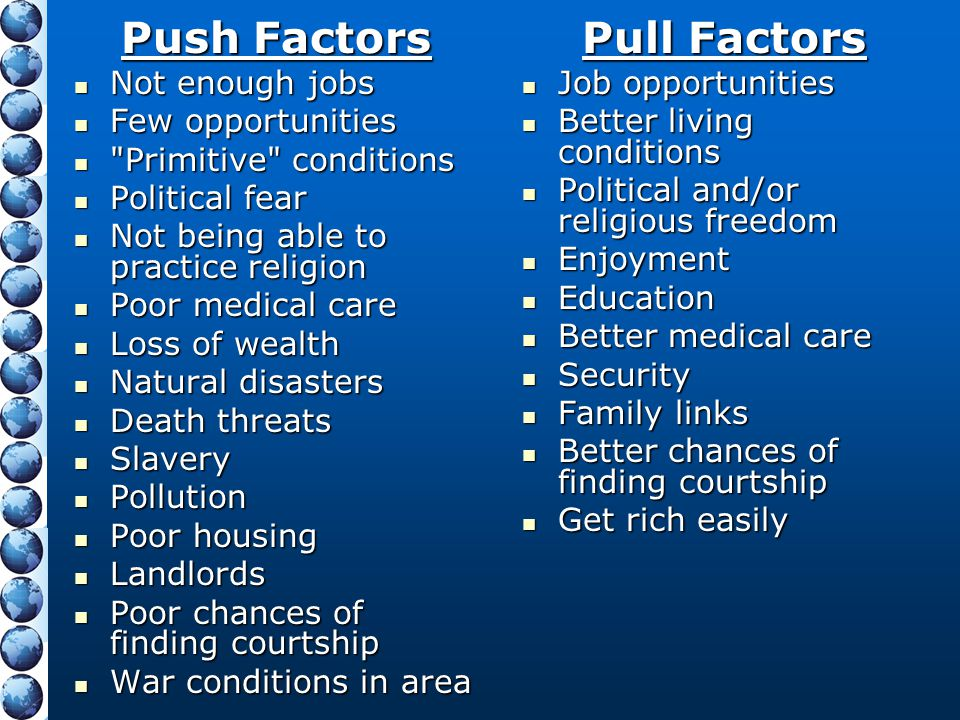 Push Factors Pull Factors Not enough jobs Few opportunities