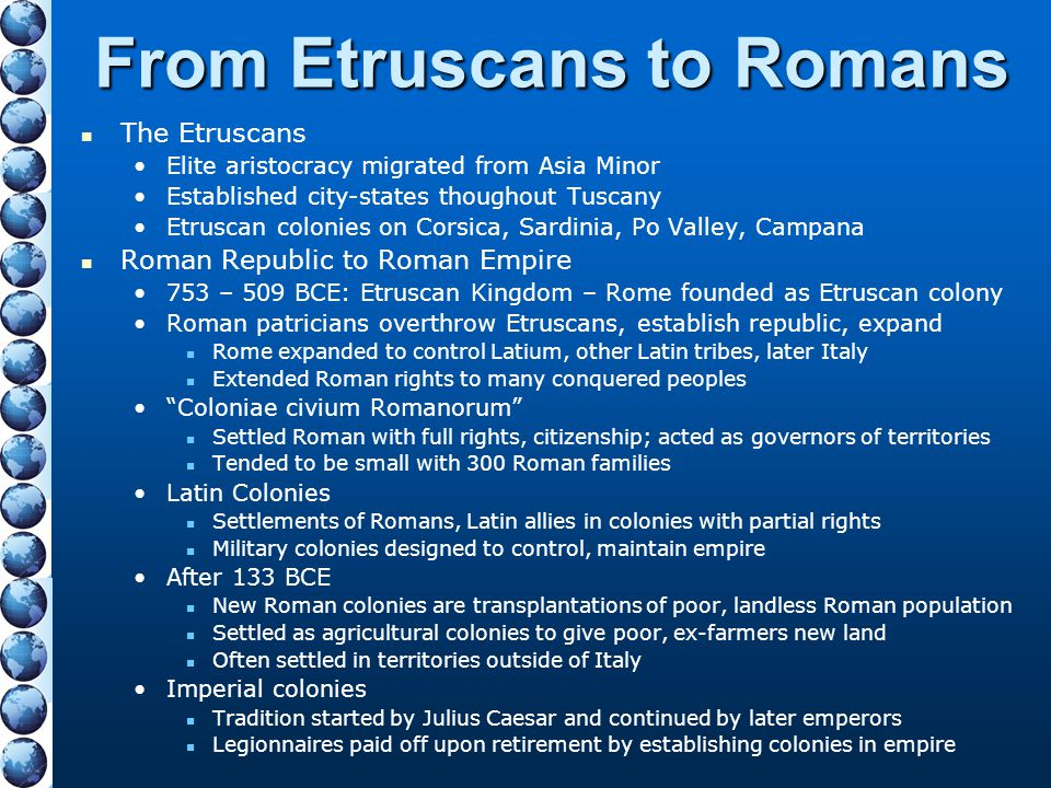 From Etruscans to Romans