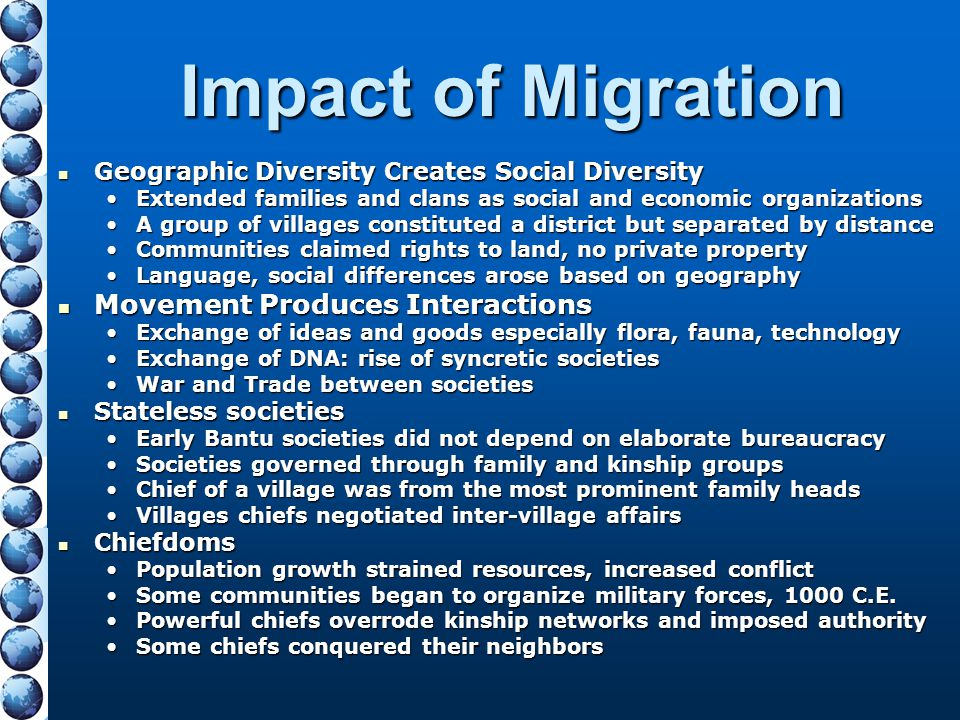Impact of Migration Movement Produces Interactions