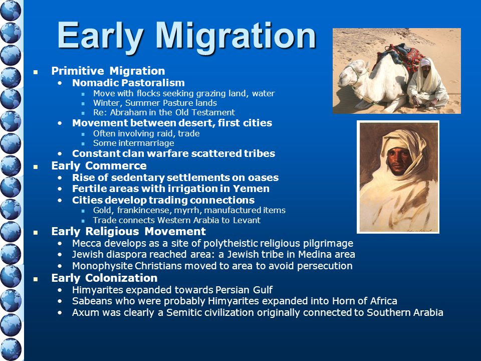 Early Migration Primitive Migration Early Commerce