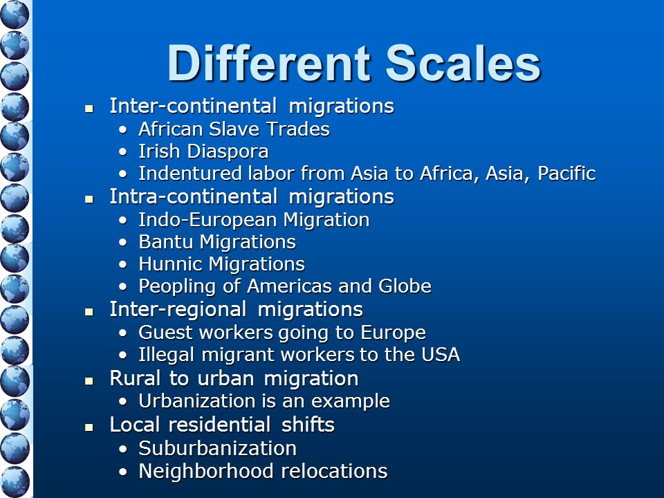 Different Scales Inter-continental migrations