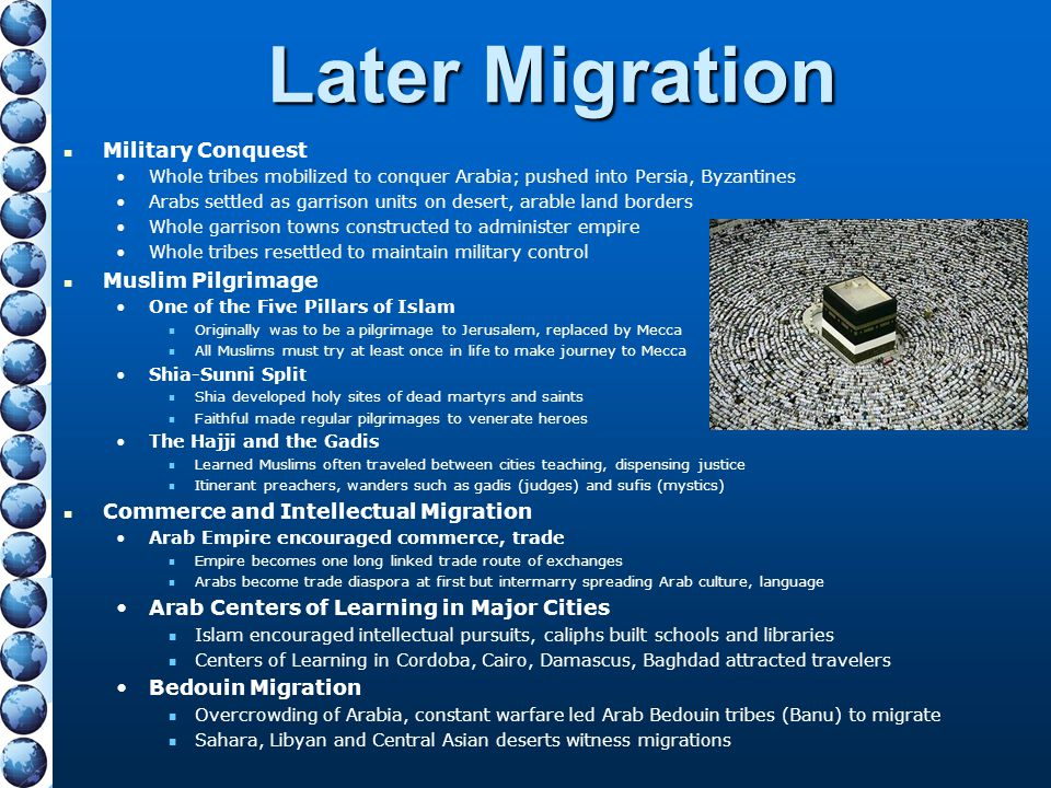 Later Migration Military Conquest Muslim Pilgrimage