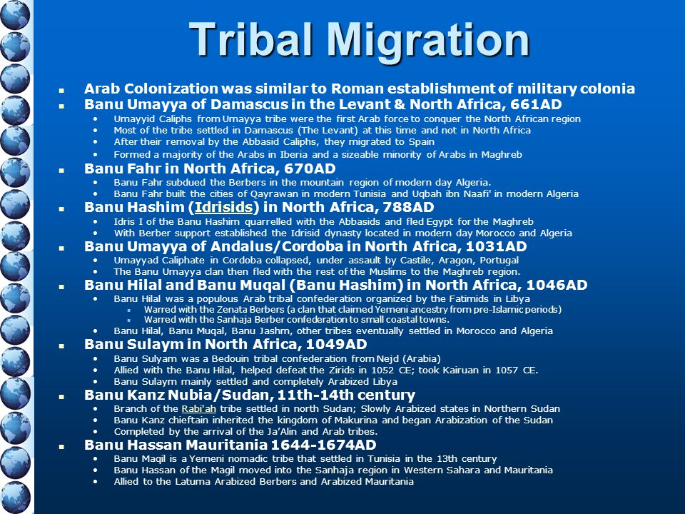 Tribal Migration Arab Colonization was similar to Roman establishment of military colonia.