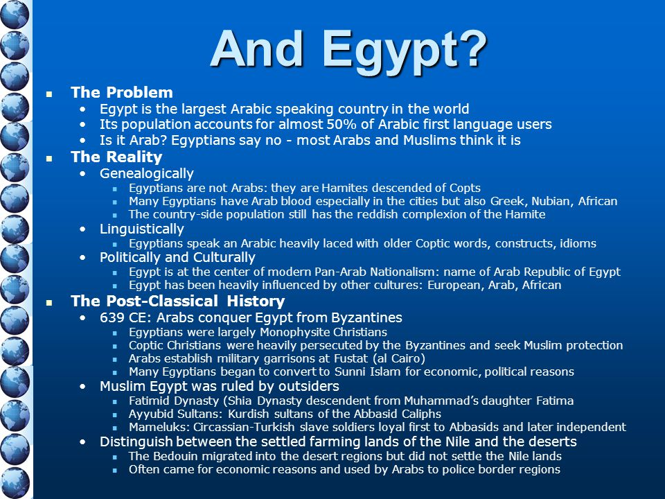 And Egypt The Problem The Reality The Post-Classical History