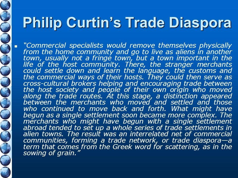 Philip Curtin's Trade Diaspora