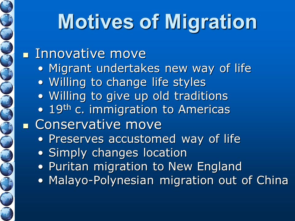 Motives of Migration Innovative move Conservative move
